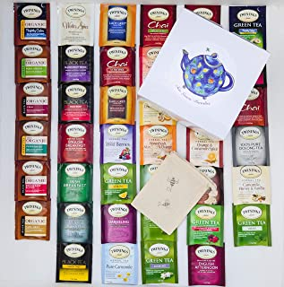 Twinings Tea Bags Sampler Assortment Variety Pack - 40 Count with Gift Box and Travel Pouch - Essentials