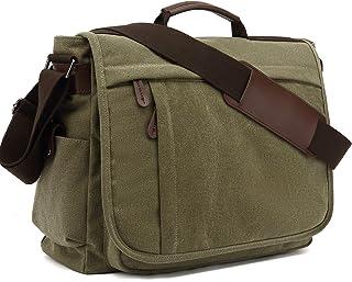 Umhängetaschen Herren aus Canvas Schultasche Queformat A4 Laptoptasche für 15,6 Zoll Laptop Arbeitstasche Aktentasche