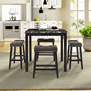 WINNER 5-Piece Counter-Height Dining Set, Dinning Room Kitchen Table and Chairs for 4 (Black)