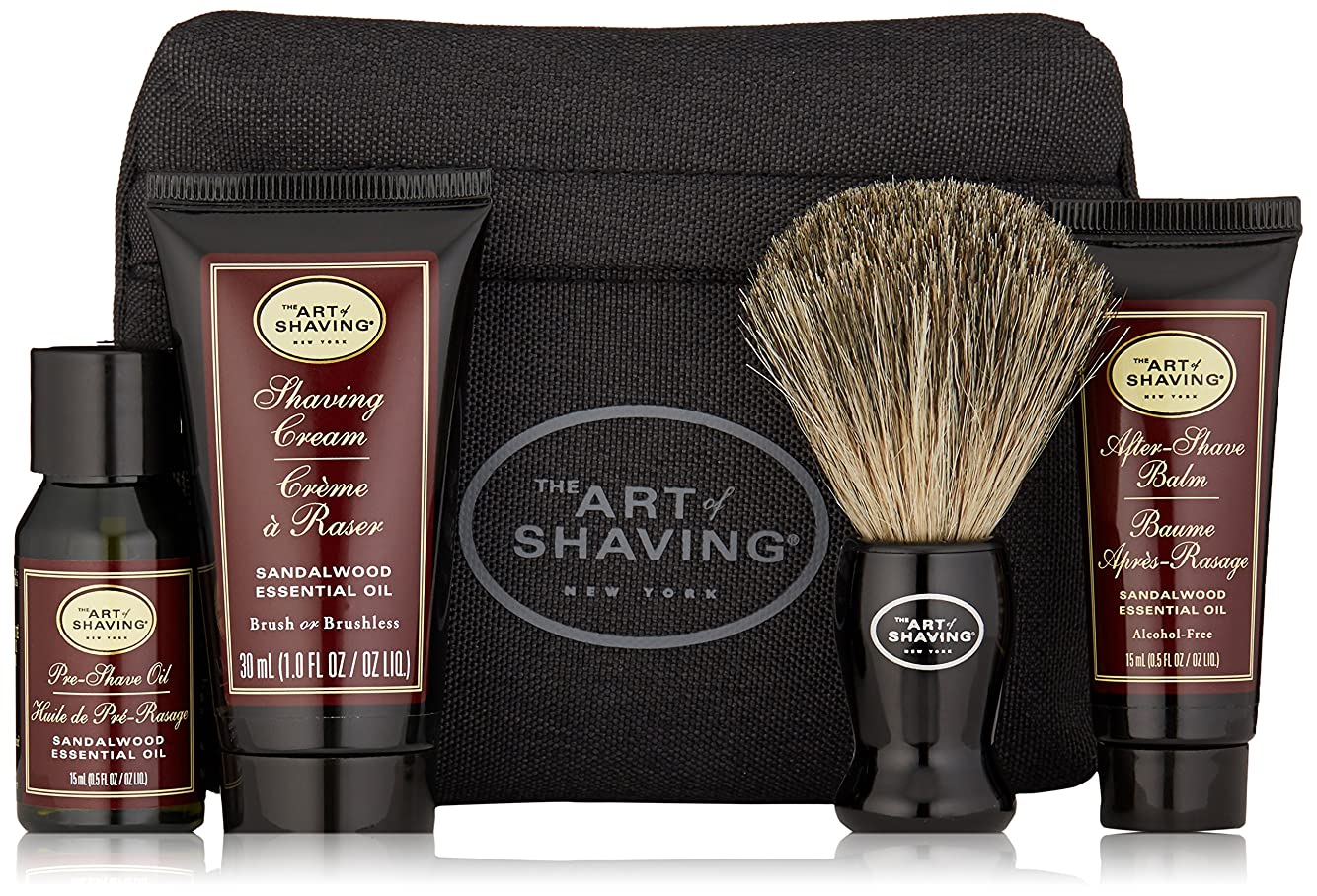 カレンダー論文テスピアンアートオブシェービング Starter Kit - Sandalwood: Pre Shave Oil + Shaving Cream + After Shave Balm + Brush + Bag 4pcs + 1Bag並行輸入品