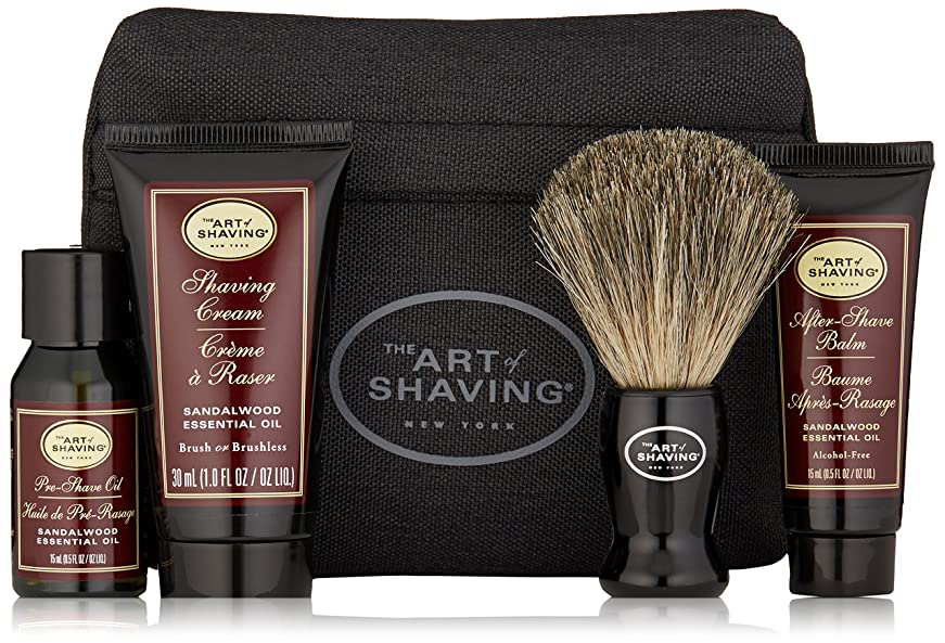 はい薬局叙情的なアートオブシェービング Starter Kit - Sandalwood: Pre Shave Oil + Shaving Cream + After Shave Balm + Brush + Bag 4pcs + 1Bag並行輸入品
