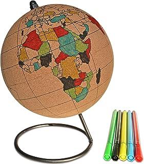 لعبة الكرة الأرضية من الفلين الملون الصغير مع 5 أقلام تلوين مختلفة وقاعدة فولاذية متينة | رائعة لخريطة السفر والأغراض التع...
