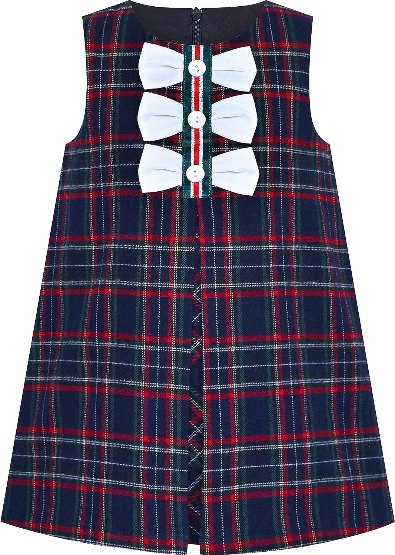 60s 70s Kids Costumes & Clothing Girls & Boys Sunny Fashion Girls Dress Pink Tartan Back School Uniform Pocket A-line Dress  AT vintagedancer.com