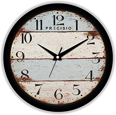 E Deals Printed Wall Clock 25X25 cm| Round Shaped Designer Wall Clock with Glass for Home/Living Room/Bedroom/Kitchen/Office (Silent Movement, Black Frame) | Small PWC-527