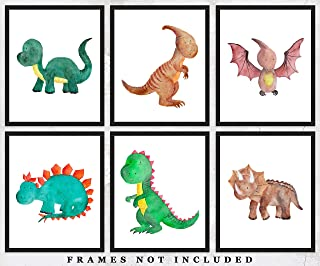 Dinosaurs Nursery Wall Decor Art Prints: Set of Six (8x10) Unframed Pictures - Great Gift Idea for Any Nursery and Kids Room Under $20