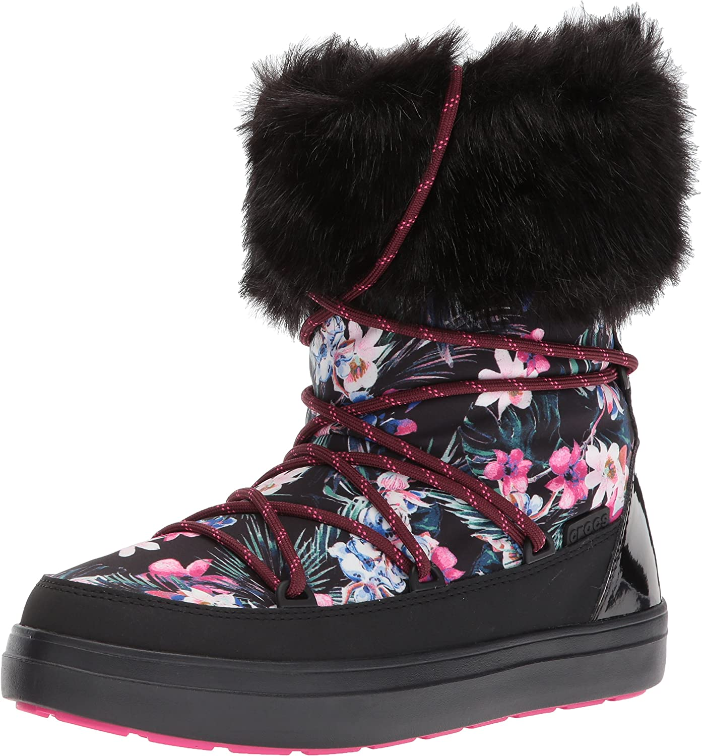 Crocs Women's LodgePoint Graphic Lace Boot W Snow Boot, Tropical Black, 6 M US