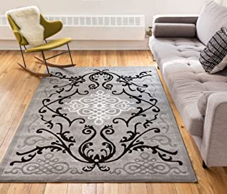 Well Woven Zephyr Grey Traditional Oriental Sarouk Medallion Modern Casual Floral 8x10 (7'10