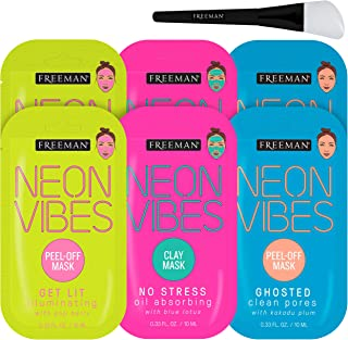 Freeman Neon Mask Collection (Pack of 6) + Bonus Brush Clay Mask Oil Absorbing Clean Pores Peel-off Mask