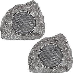 Homewell Outdoor Rock Speaker Solar-Powered Wireless Bluetooth 5.0 Portable Speaker Weatherproof for Patio, Pool, Deck, Yard, Garden and Home (2-Pack)