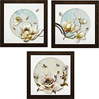 Indianara Set of 3 White Birds on White Flowers Framed Wall Hanging Laminated Paintings Matt Art Prints 9 inch x 9 inch ea...