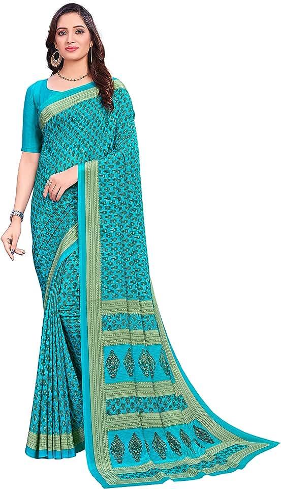 Indian Vimla * Women's Multicolor Crepe Silk Uniform Saree with Blouse (ANGOORI) Saree