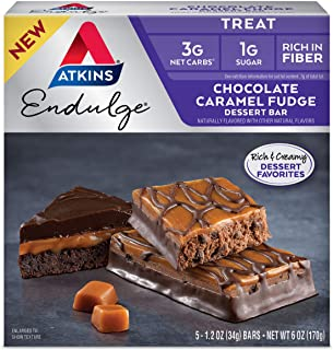 Atkins Endulge Treat Fudge Dessert Bar, Chocolate Caramel, 5 Count
