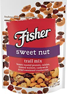 FISHER Snack Sweet Trail Mix, 4 oz (Pack of 6), Honey Roasted Peanuts, Raisins, Frosted Walnuts, Cashews, Dried Sweetened Cranberries