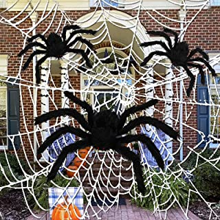 3 Pack Giant Halloween Spider,Scary Halloween Spider,Fake Large Hairy Spider for Outdoor Halloween Decorations House Party...