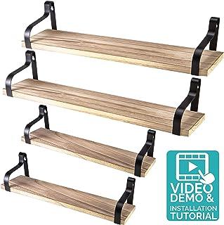Nature Supplies Drijvende planken wandmontage, set van 4 stuks, natuurlijk, rustiek hout design, wandopslag, industriële d...