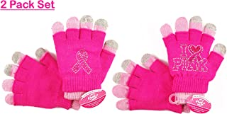 Breast Cancer Awareness Pink Ribbon Knitted Magic Touch Gloves 2 Pairs Pack One size fits All