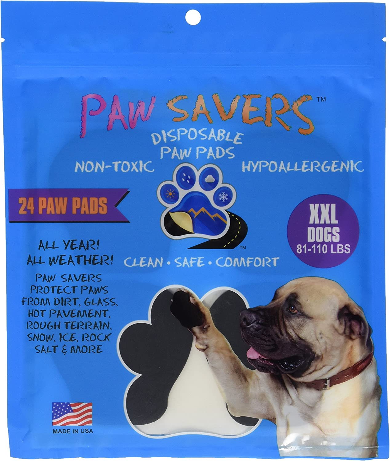 XXLarge Paw Savers, Disposable Dog Paw Pads, (81110 lbs) 24 Pieces