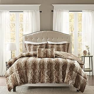 Madison Park Zuri Faux Fur Bedroom 4 Pieces Animal Print Bed Comforter Set, Full/Queen, Tan