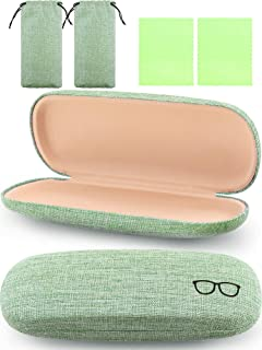 2 Pieces Hard Shell Eyeglasses Case Retro Portable Glasses Case with Cleaning Cloth and Drawstring Bag for Daily Using