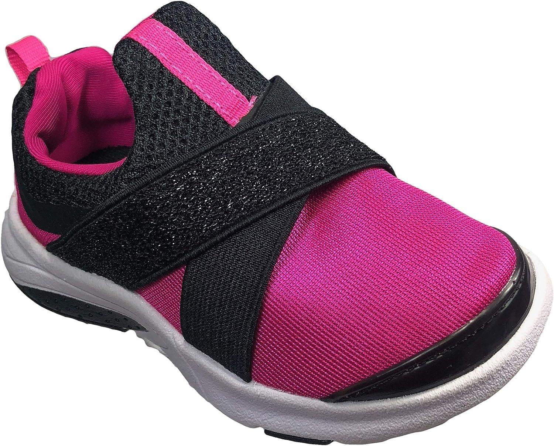 Athletic Works Slip-On Cross Strap Running Girls Shoe Pink & Black