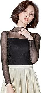 Ababalaya Women's Sexy Retro Turtleneck Glitter Sheer Lace Long Sleeve Blouse Top Clubwear