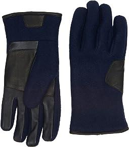 UGG - Fabric Smart Gloves w/ Leather Trim