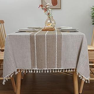 """رومیزی مشبک روستایی Laolitou پارچه رومیزی ضد آب پارچه روکش پارچه ای برای سفره خانه ، مهمانی ، تعطیلات ، کریسمس ، خطوط قهوه بوفه مستطیل ، 55 """"x70"""" ، 4-6 صندلی"""