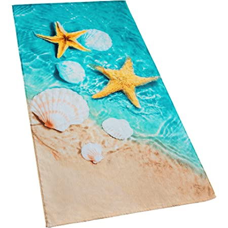 N//W Ocean Starfish and Seashell Quick Dry Bath Towels Extra Large 31.5 X 63 for Women//Men//Kids Summer Beach Sea Water Beach//Swimming//Hiking//Camping Towel