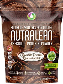 NUTRALEAN Chocolate Dream Prebiotic Protein Powder- 100% All Natural | Peanut-Free | Nut-Free | Gluten-Free | Soy-Free | NO Artificial Sweeteners | Grass Fed Whey | Ideal Keto Shake & Fiber Supplement