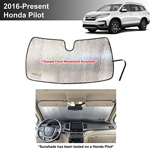 discount YelloPro lowest Custom Fit Reflective Front Windshield Sunshade for 2016 2017 outlet online sale 2018 2019 2020 2021 Honda Pilot SUV, UV Reflector Sun Protection Accessories (Does Not Fit Elite) online sale