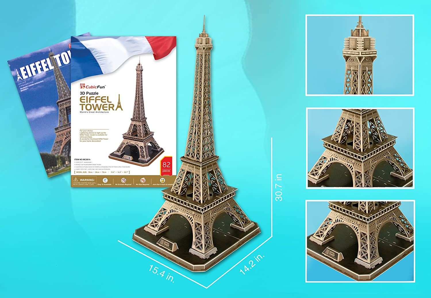 mas preferencial Eiffel Tower Large Large Large 3D Puzzle with Book  diseño simple y generoso