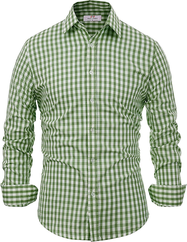 Paul Jones Casual Long-Sleeve Plaid Dress Shirt Checkered Button Down Shirt