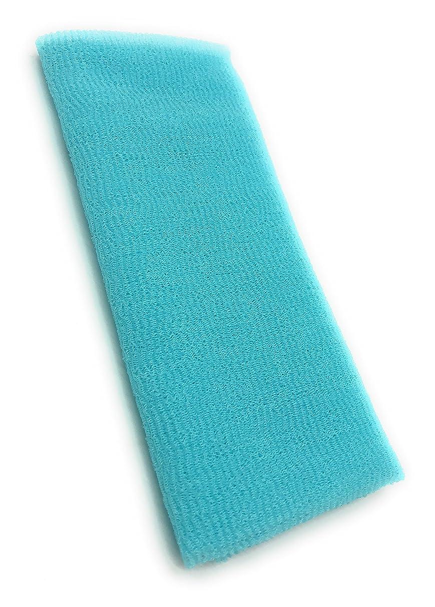 入札透明にチーフMaltose あかすりタオル ボディタオル ロングボディブラシ やわらか 濃密泡 背中 お風呂用 メンズ 5色 (ブルー)