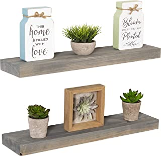 Imperative Décor Floating Shelves Rustic Wood Wall Shelf USA Handmade | Set of 2 (Grey,..