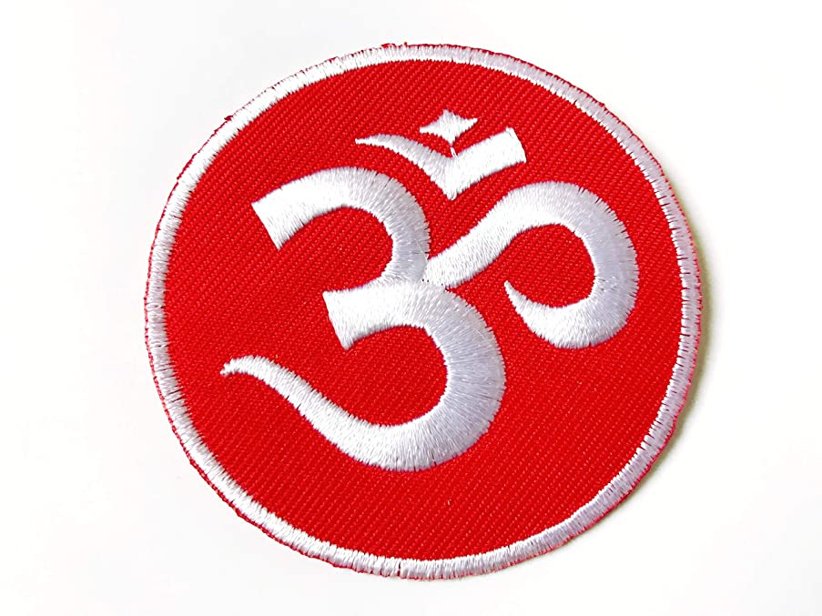 Tyga_Thai Brand Aum Om Ohm Hindu Hindi Hinduism Yoga Red Costume Design Symbol Applique Embroidered Sew on Iron on Patch for Backpacks Jeans Jackets T-Shirt Clothing etc. (Iron-AUM-OM-RD)