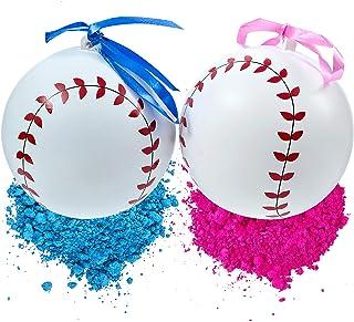 Gender Reveal Baseball Set | 2 Exploding Balls With Pink & Blue Powder | Bigger Size