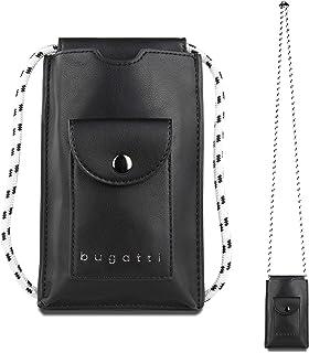 Bugatti Almata Handytasche zum Umhängen Damen, kleine Umhängetasche, Schultertasche für den Alltag, Schwarz