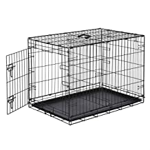 AmazonBasics Single-Door Folding Metal Dog or Pet Crate Kennel with Tray