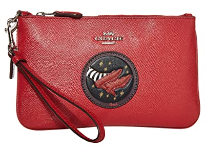 COACH Small Wristlet (Red Apple/Silver) Clutch Handbags