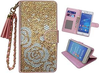 「kaupili」 Xperia Z3 (SO-01G/SOL26/401SO)ケース 鏡/ミラー付き カード収納 スタンド機能 手帳型 お財布機能付き 化粧鏡付き