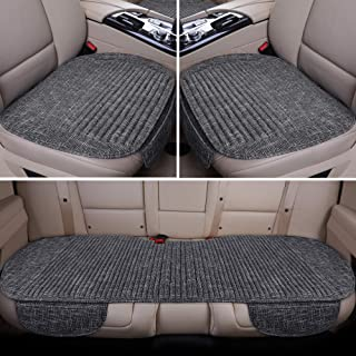LUCKYMAN CLUB Full Set Car Seat Cushion with Lavender and Buckwheat Shell Comfortable and Breathable Fabric Seat Covers Fit for Trucks Vans Cars SUV (3 PCS Full Set, Black White)