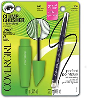 COVERGIRL Clump Crusher by LashBlast Mascara Very Black 800 and Perfect Point Plus Eye Pencil Value Pack (packaging may vary), 0.44 Fl Oz (Pack of 1)