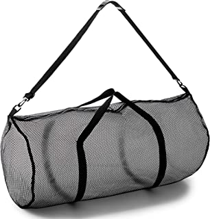 """Mesh Duffle Bag with Zipper and Adjustable Shoulder Strap, 15"""" x 36"""" - Multipurpose, Oversized Gym Bag for Equipment, Sports Gear, Laundry - Breathable Mesh Scuba and Travel Bag"""