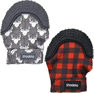 Stadela Baby Soothing Teething Mittens, Food Grade Silicone Teether Toy with Travel Bag for Boy Baby Shower Gift, Set of 2, Woodland Forest Deer Buffalo Plaid (Lumberjack)