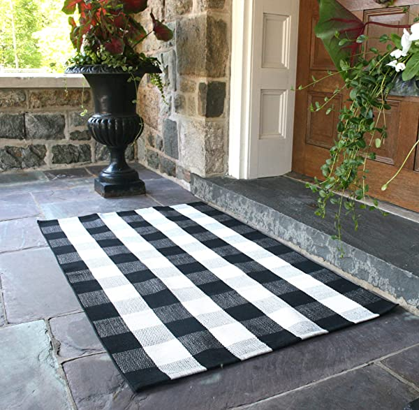 NANTA Black And White Rug Buffalo Plaid Check Checkered Rug Cotton Hand Woven Rugs For Welcome Door Mat Porch Kitchen Bathroom Entry Way 3x5