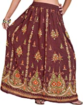 Exotic India Long Skirt with Printed Flowers and Embroidered Sequins