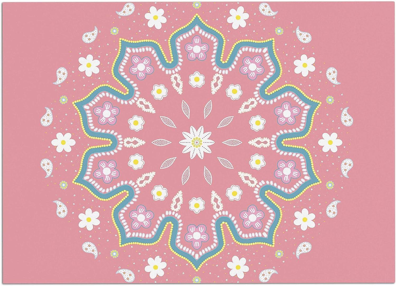 KESS InHouse CB2033ADM02 Cristina Bianco Design Mandala II Pink White Dog Place Mat, 24 x15