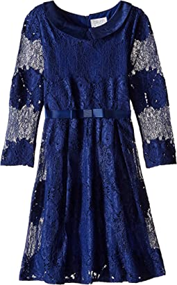 Lace 3/4 Sleeve Peter Pan Collar Dress (Big Kids)