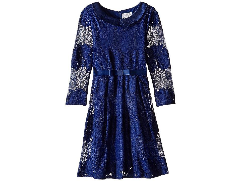 Us Angels Lace 3/4 Sleeve Peter Pan Collar Dress (Big Kids) (Navy) Girl
