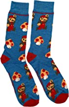 Super Mario Bros Mario and Mushroom 8 Bit Crew Sock Pair Blue